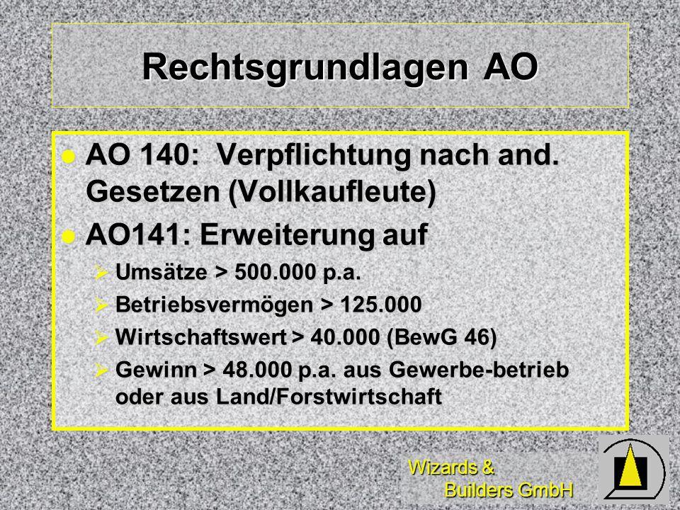 Rechtsgrundlagen AO AO 140: Verpflichtung nach and. Gesetzen (Vollkaufleute) AO141: Erweiterung auf.