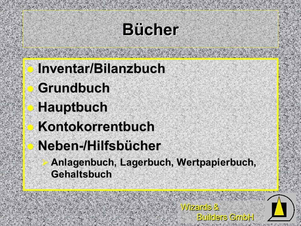 Bücher Inventar/Bilanzbuch Grundbuch Hauptbuch Kontokorrentbuch