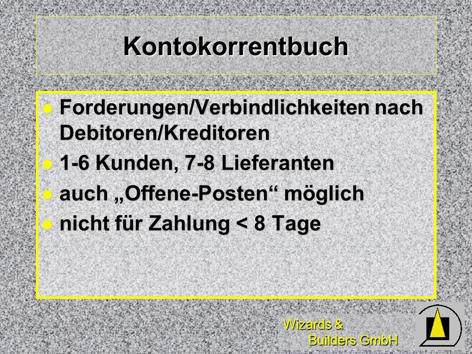 Kontokorrentbuch Forderungen/Verbindlichkeiten nach Debitoren/Kreditoren. 1-6 Kunden, 7-8 Lieferanten.