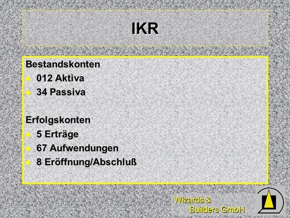 IKR Bestandskonten 012 Aktiva 34 Passiva Erfolgskonten 5 Erträge