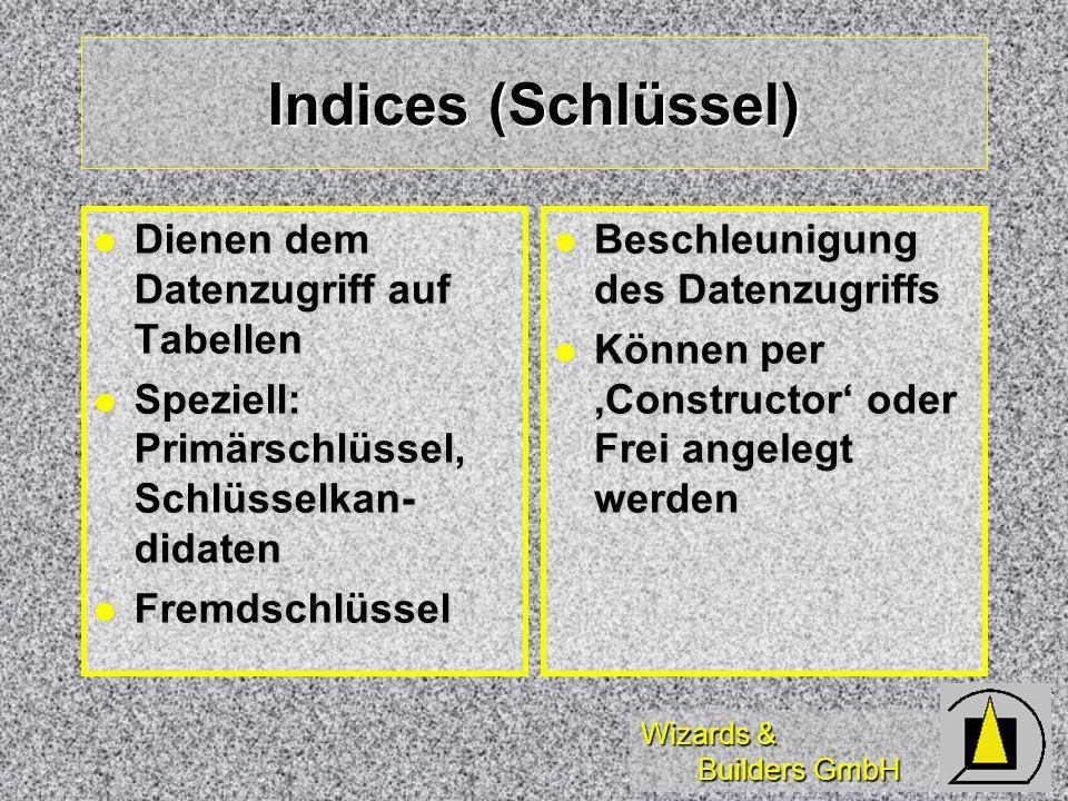 Indices (Schlüssel) Dienen dem Datenzugriff auf Tabellen