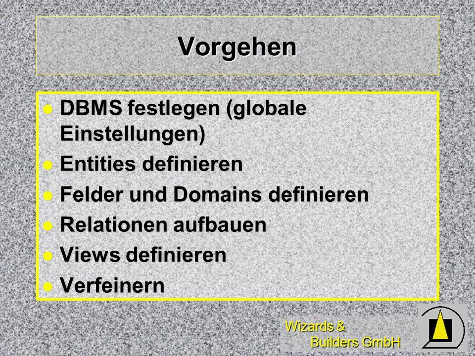 Vorgehen DBMS festlegen (globale Einstellungen) Entities definieren
