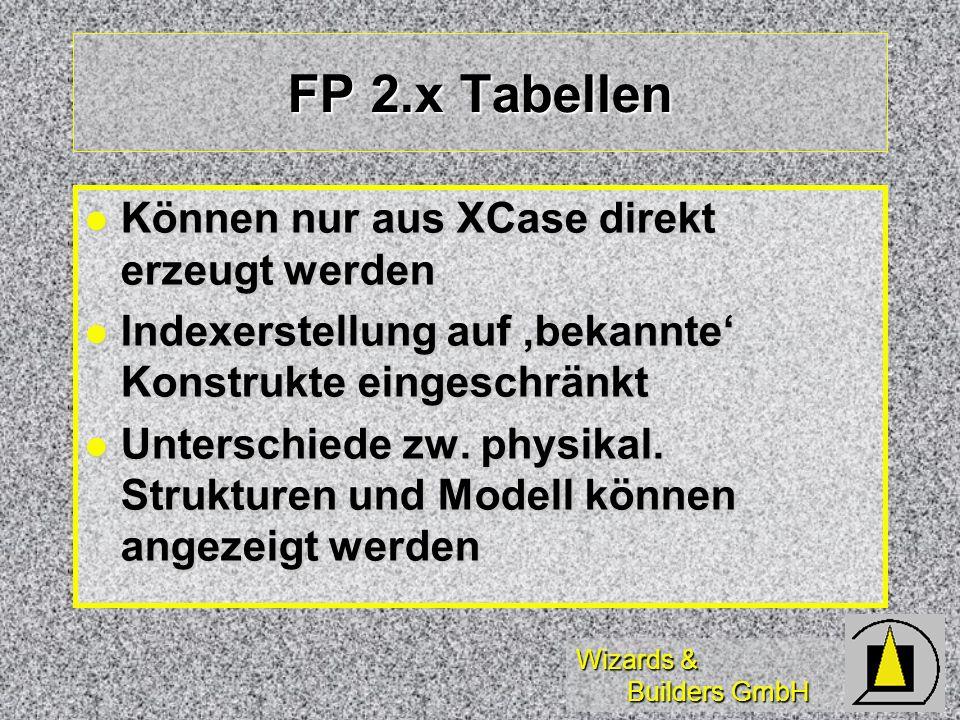 FP 2.x Tabellen Können nur aus XCase direkt erzeugt werden