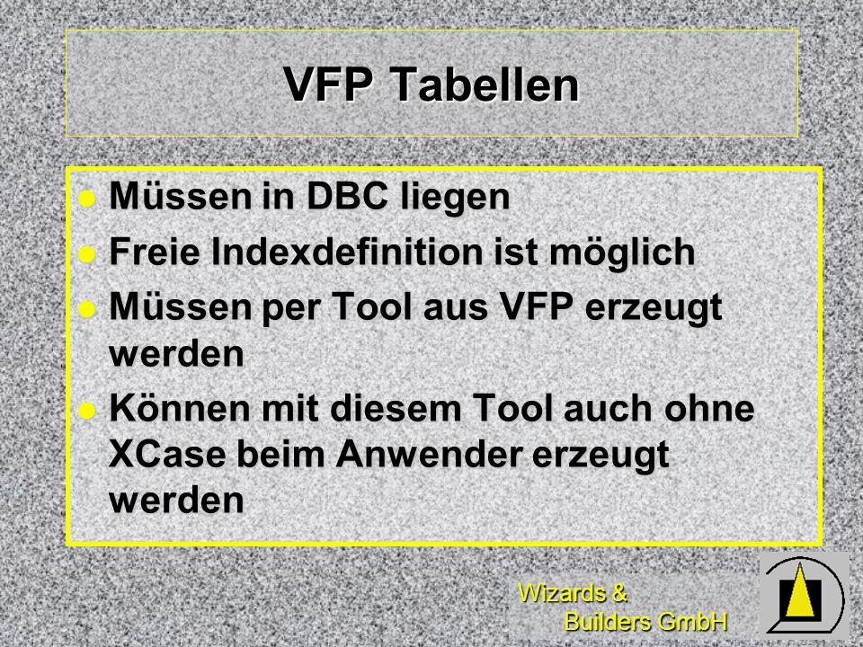 VFP Tabellen Müssen in DBC liegen Freie Indexdefinition ist möglich