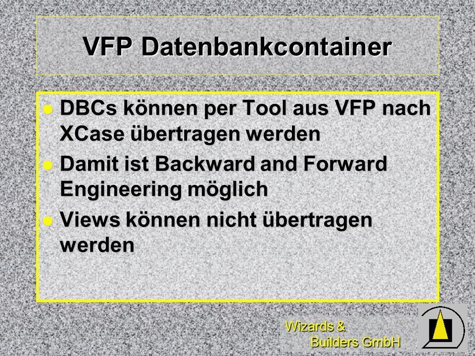 VFP Datenbankcontainer