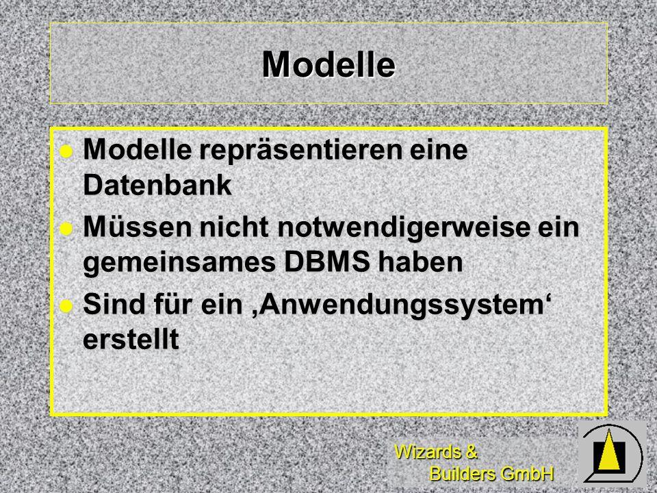 Modelle Modelle repräsentieren eine Datenbank