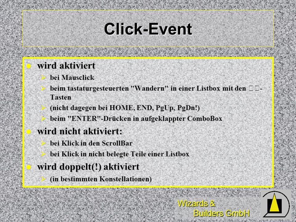 Click-Event wird aktiviert wird nicht aktiviert: