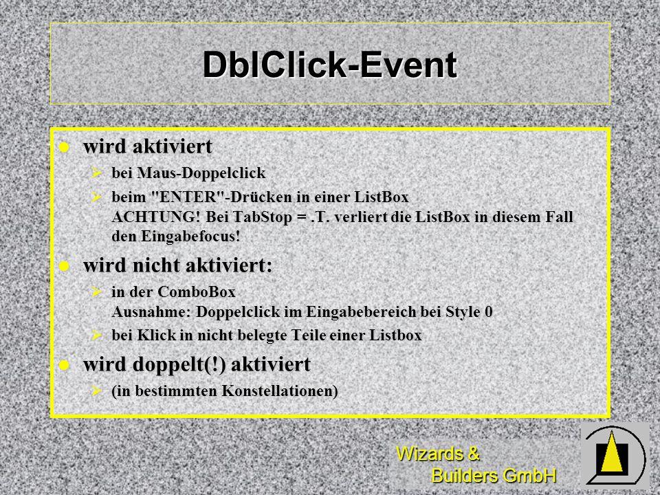 DblClick-Event wird aktiviert wird nicht aktiviert: