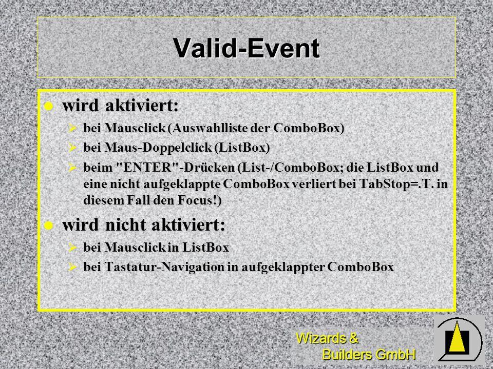 Valid-Event wird aktiviert: wird nicht aktiviert: