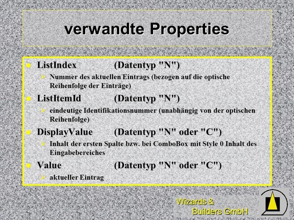 verwandte Properties ListIndex (Datentyp N )