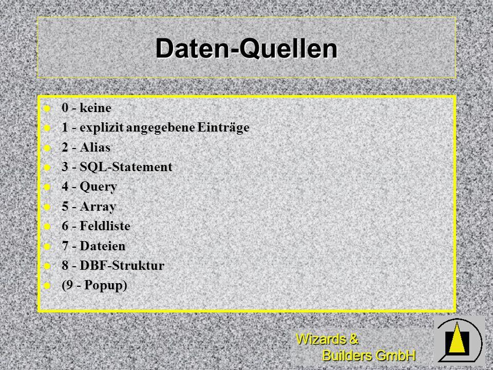 Daten-Quellen 0 - keine 1 - explizit angegebene Einträge 2 - Alias