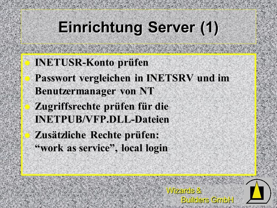 Einrichtung Server (1) INETUSR-Konto prüfen