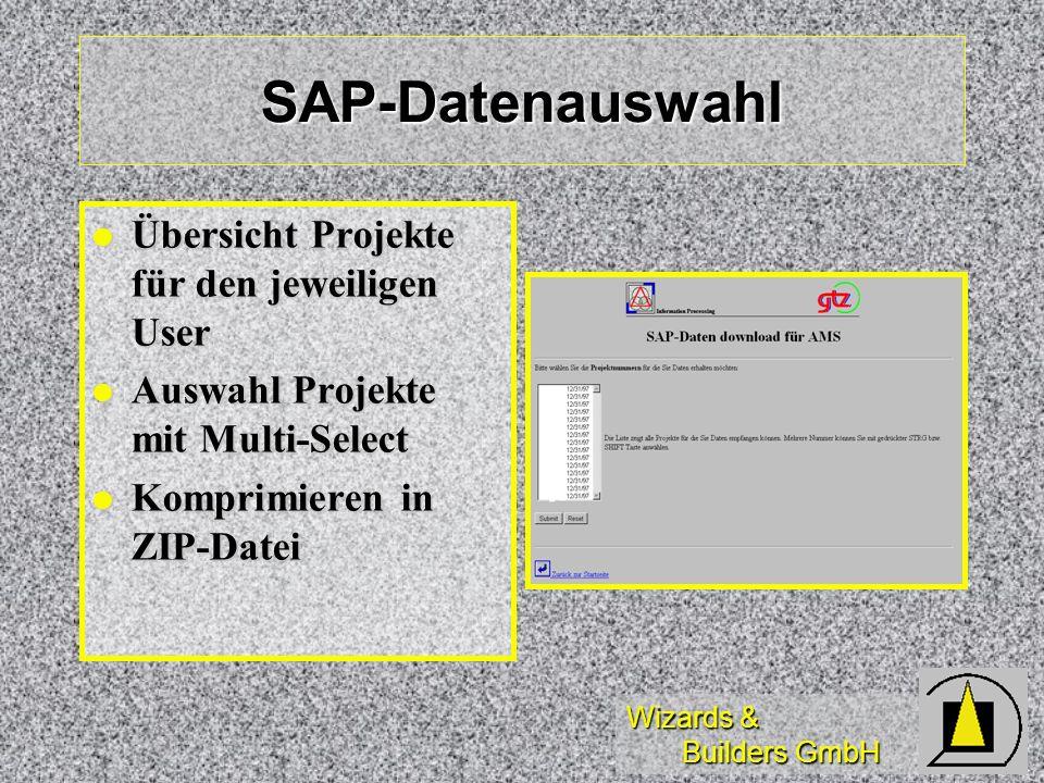 SAP-Datenauswahl Übersicht Projekte für den jeweiligen User
