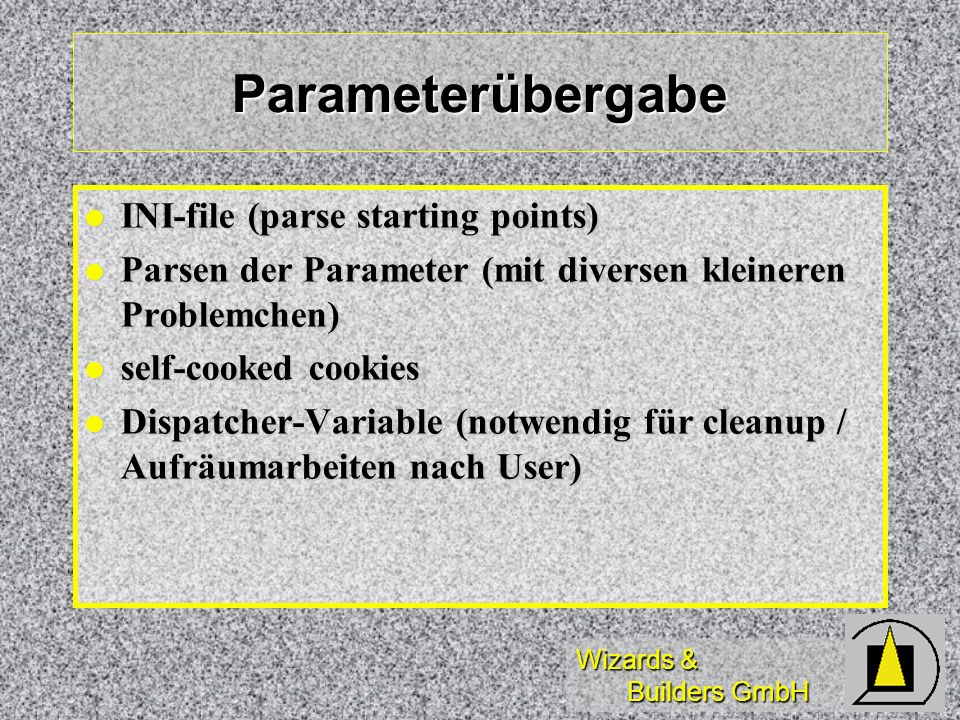 Parameterübergabe INI-file (parse starting points)