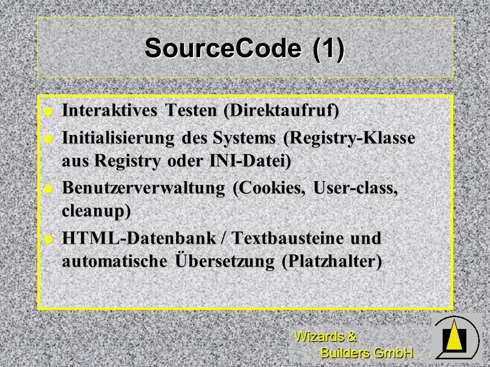 SourceCode (1) Interaktives Testen (Direktaufruf)