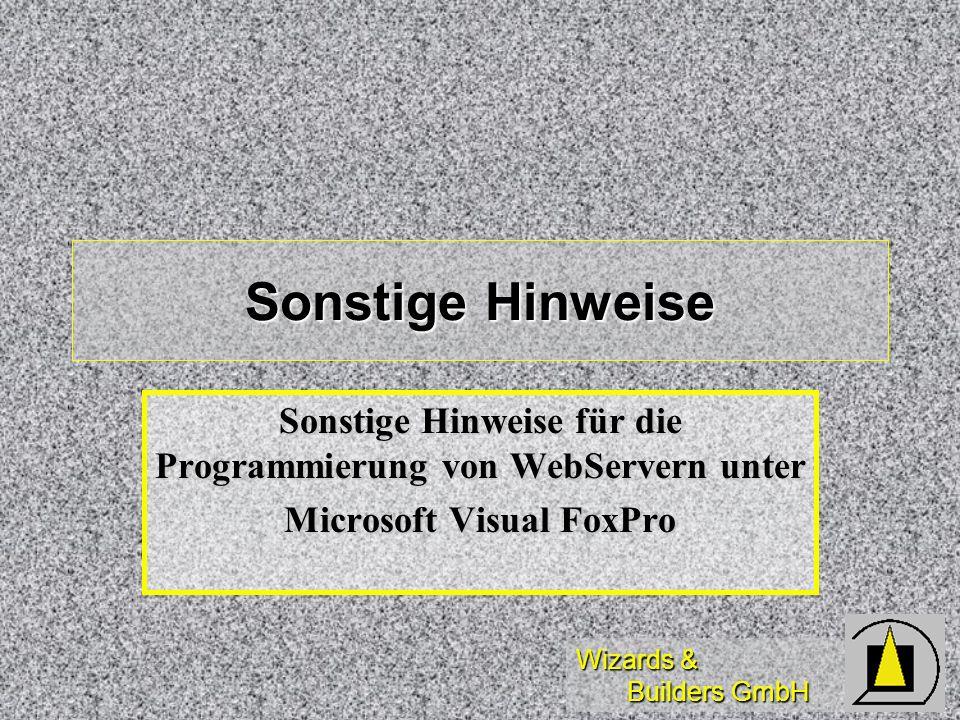 Sonstige Hinweise Sonstige Hinweise für die Programmierung von WebServern unter.
