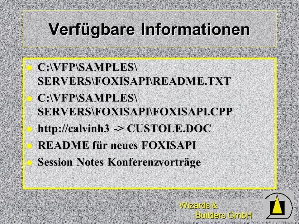 Verfügbare Informationen