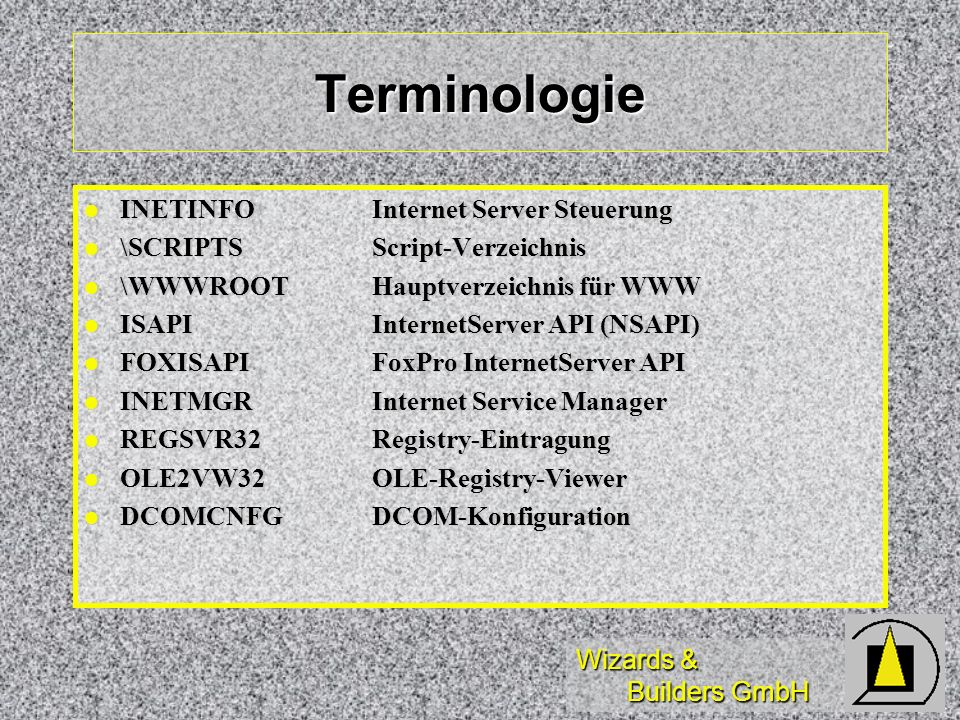 Terminologie INETINFO Internet Server Steuerung