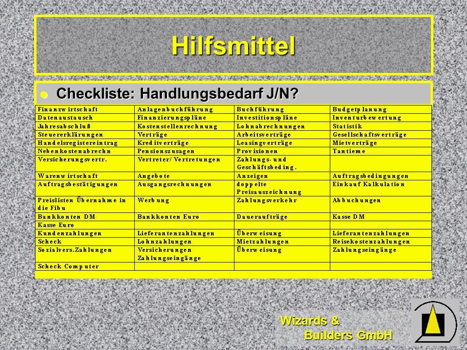 Hilfsmittel Checkliste: Handlungsbedarf J/N