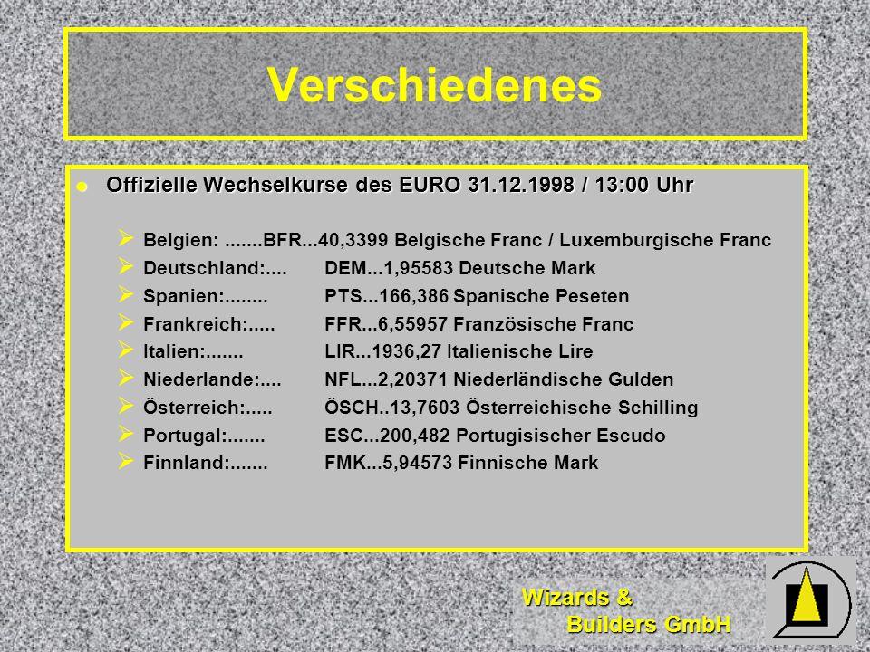 Verschiedenes Offizielle Wechselkurse des EURO 31.12.1998 / 13:00 Uhr
