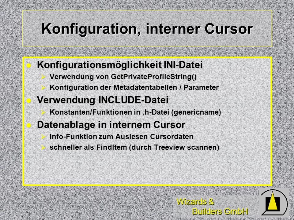 Konfiguration, interner Cursor