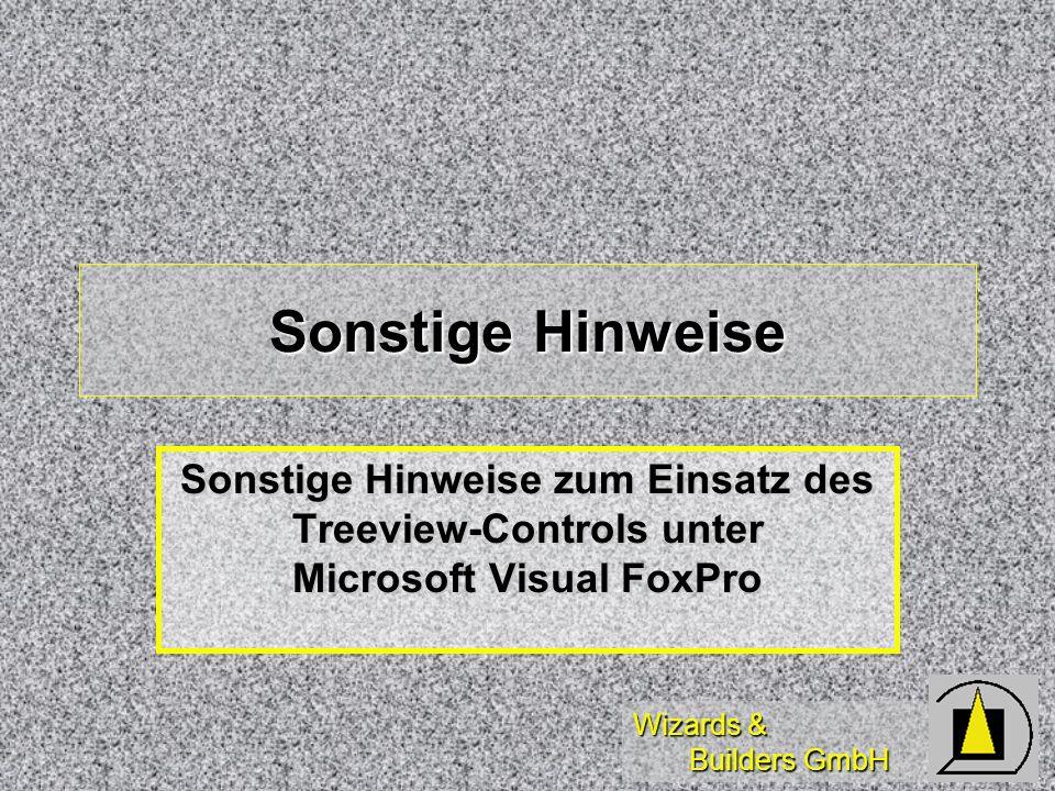 Sonstige Hinweise Sonstige Hinweise zum Einsatz des Treeview-Controls unter Microsoft Visual FoxPro