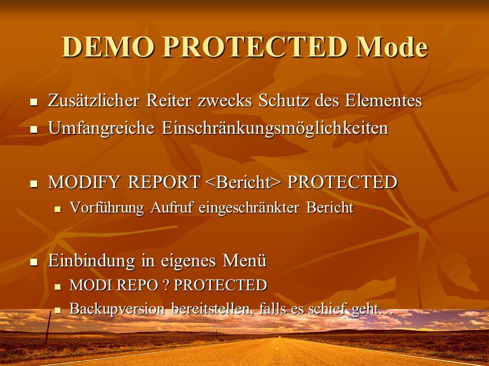 DEMO PROTECTED Mode Zusätzlicher Reiter zwecks Schutz des Elementes