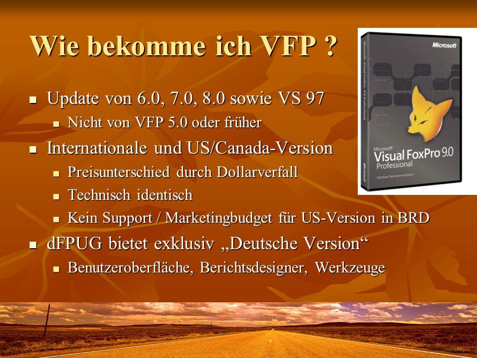 Wie bekomme ich VFP Update von 6.0, 7.0, 8.0 sowie VS 97