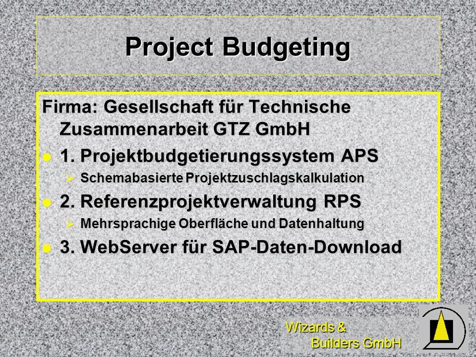 Project Budgeting Firma: Gesellschaft für Technische Zusammenarbeit GTZ GmbH. 1. Projektbudgetierungssystem APS.