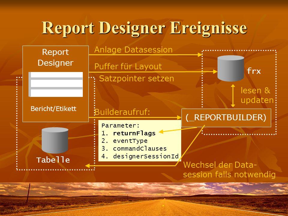 Report Designer Ereignisse
