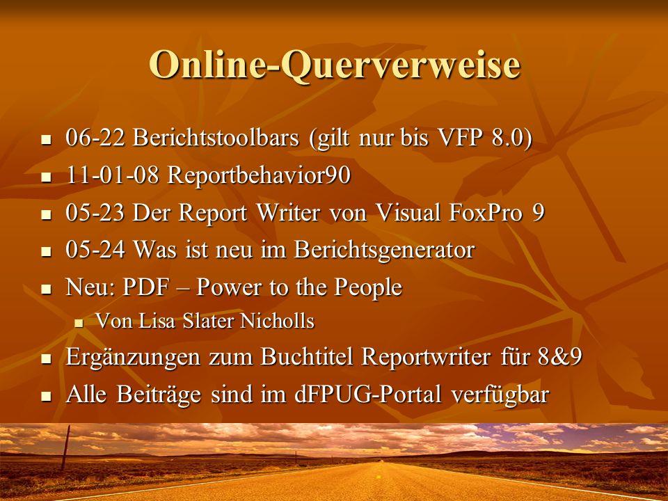 Online-Querverweise 06-22 Berichtstoolbars (gilt nur bis VFP 8.0)