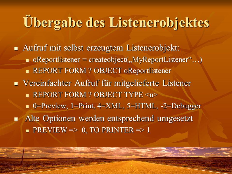 Übergabe des Listenerobjektes