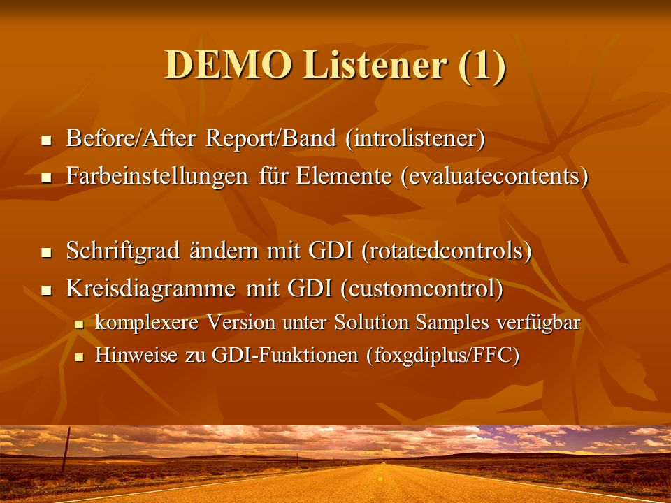 DEMO Listener (1) Before/After Report/Band (introlistener)
