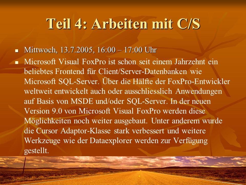 Teil 4: Arbeiten mit C/S Mittwoch, 13.7.2005, 16:00 – 17:00 Uhr
