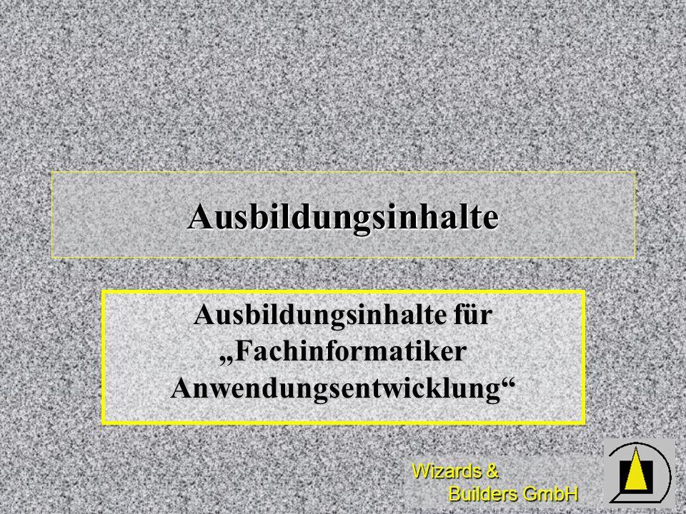"""Ausbildungsinhalte für """"Fachinformatiker Anwendungsentwicklung"""