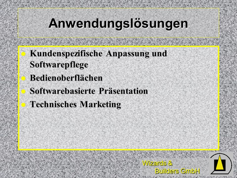 Anwendungslösungen Kundenspezifische Anpassung und Softwarepflege