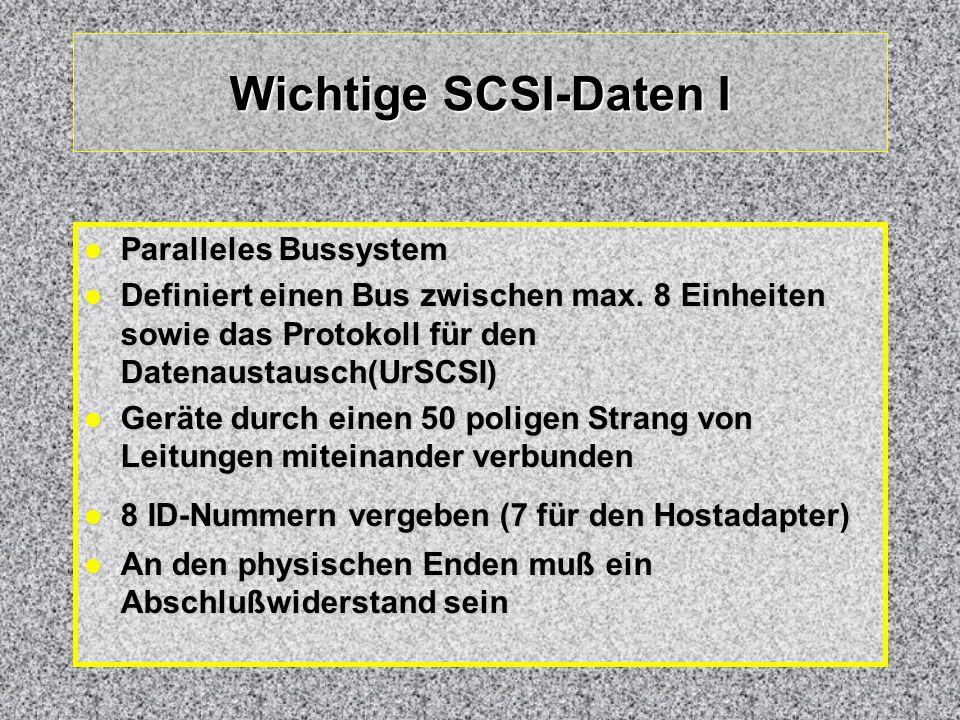 Wichtige SCSI-Daten I Paralleles Bussystem