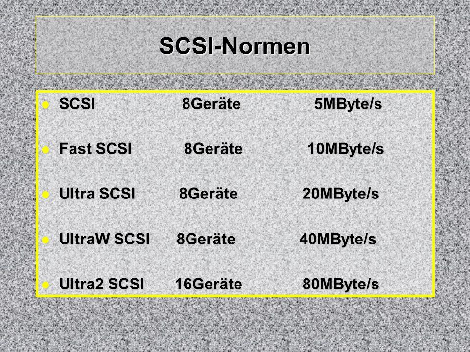 SCSI-Normen SCSI 8Geräte 5MByte/s Fast SCSI 8Geräte 10MByte/s