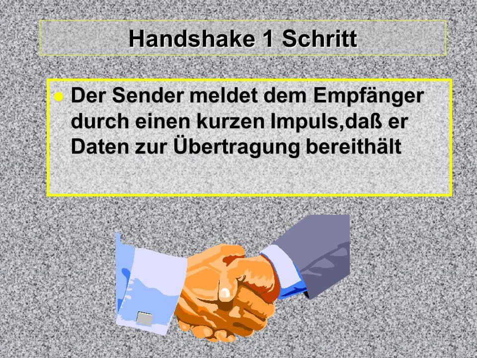 Handshake 1 Schritt Der Sender meldet dem Empfänger durch einen kurzen Impuls,daß er Daten zur Übertragung bereithält.