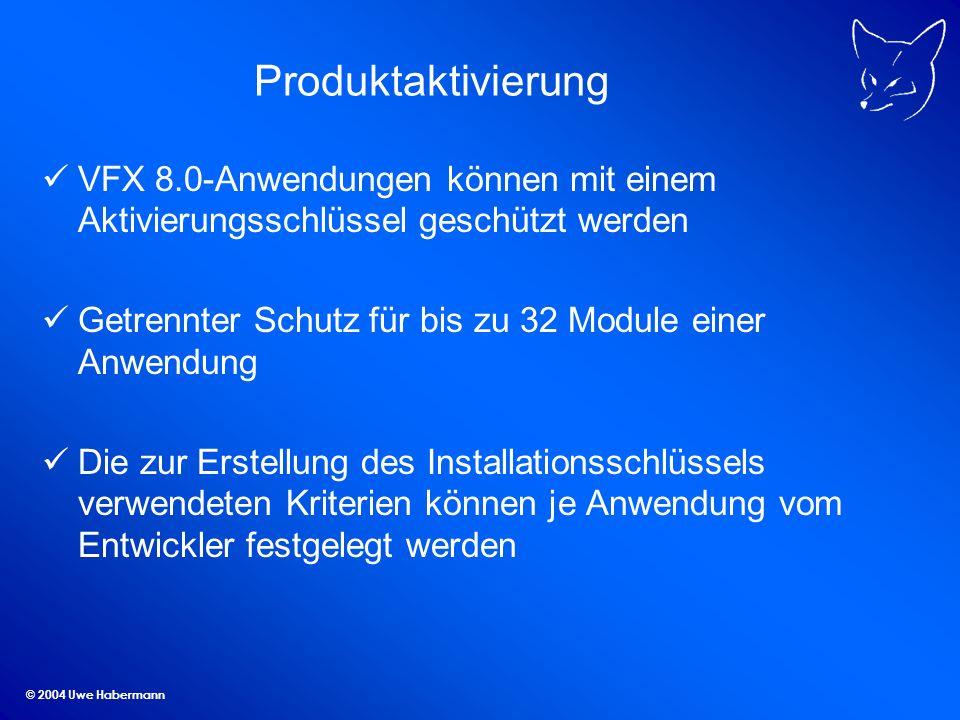 Produktaktivierung VFX 8.0-Anwendungen können mit einem Aktivierungsschlüssel geschützt werden.