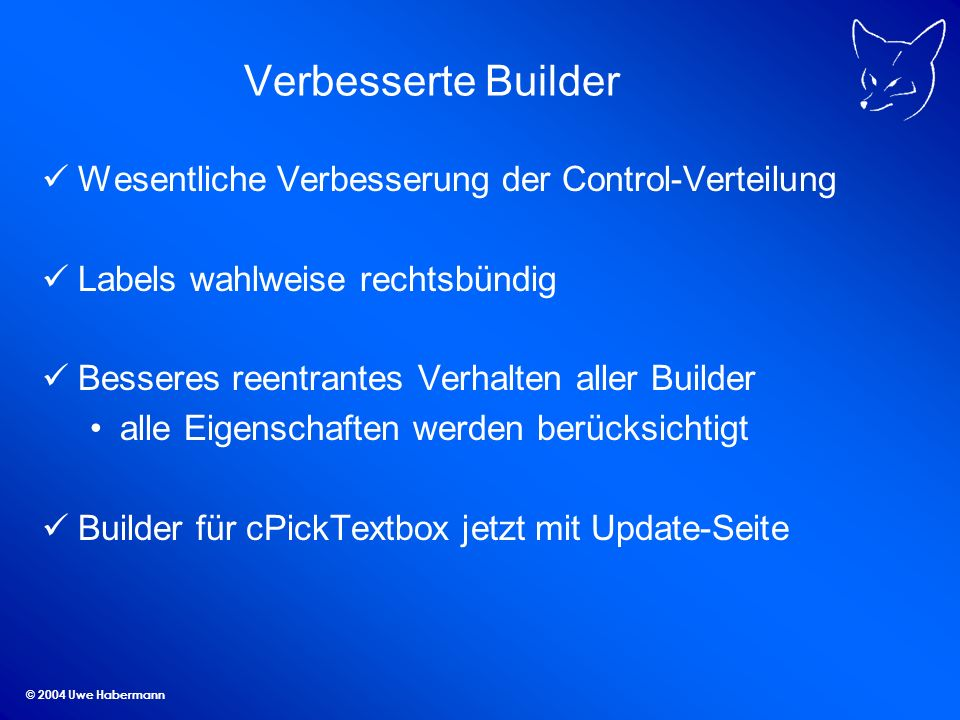 Verbesserte Builder Wesentliche Verbesserung der Control-Verteilung
