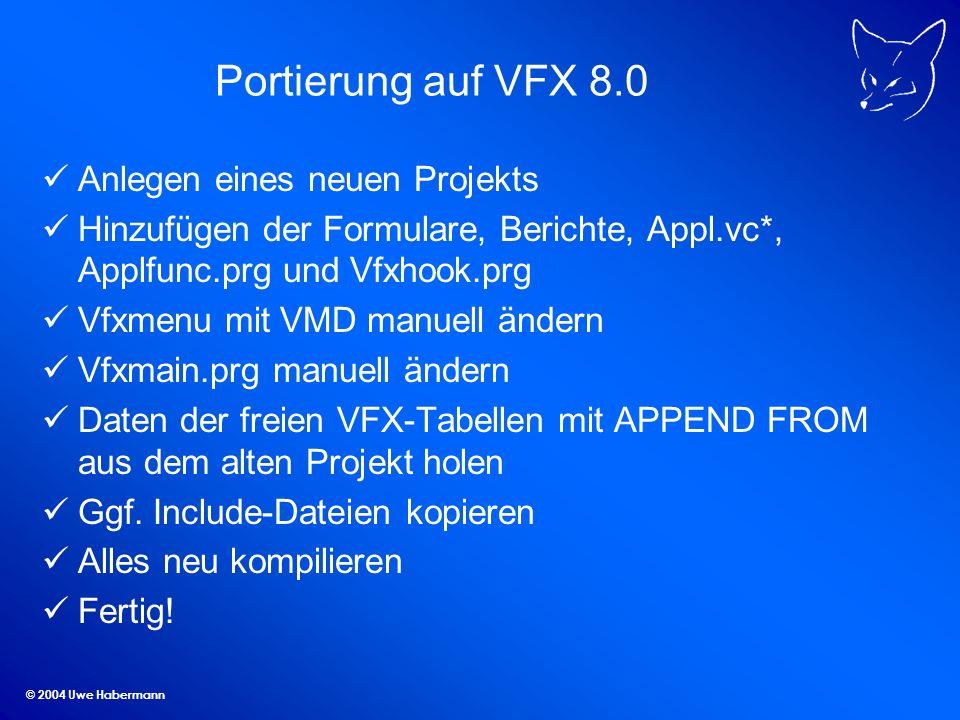 Portierung auf VFX 8.0 Anlegen eines neuen Projekts