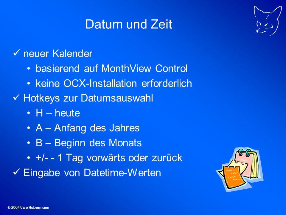Datum und Zeit neuer Kalender basierend auf MonthView Control