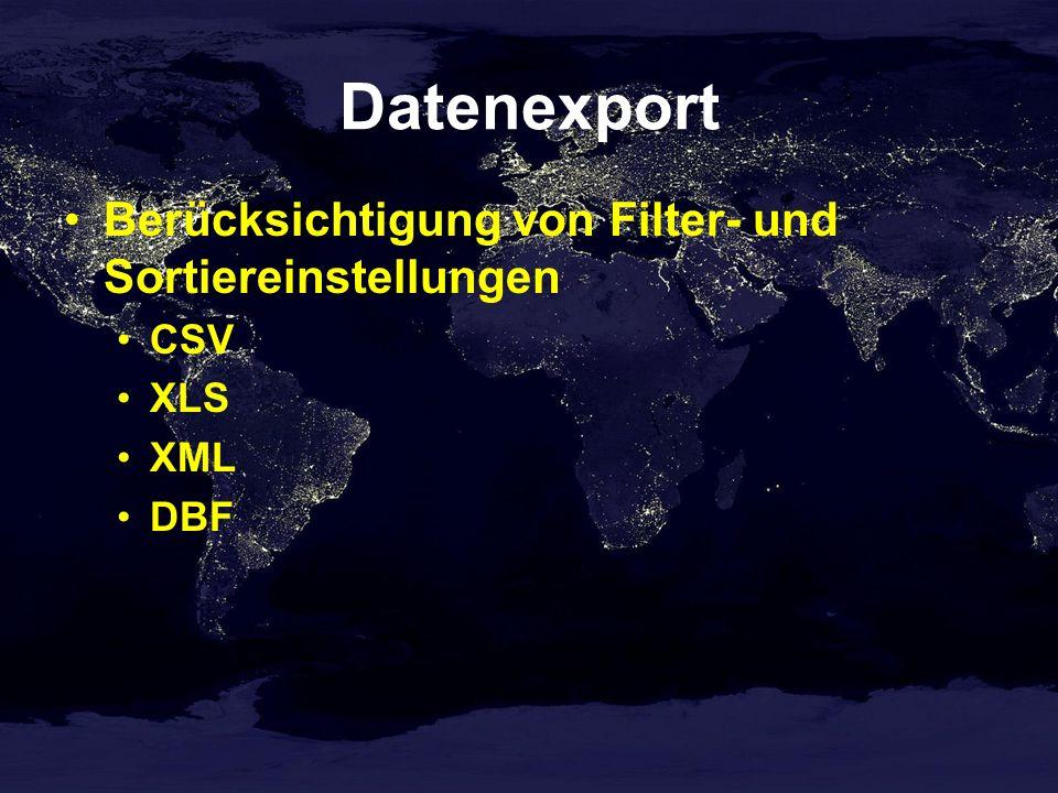 Datenexport Berücksichtigung von Filter- und Sortiereinstellungen CSV