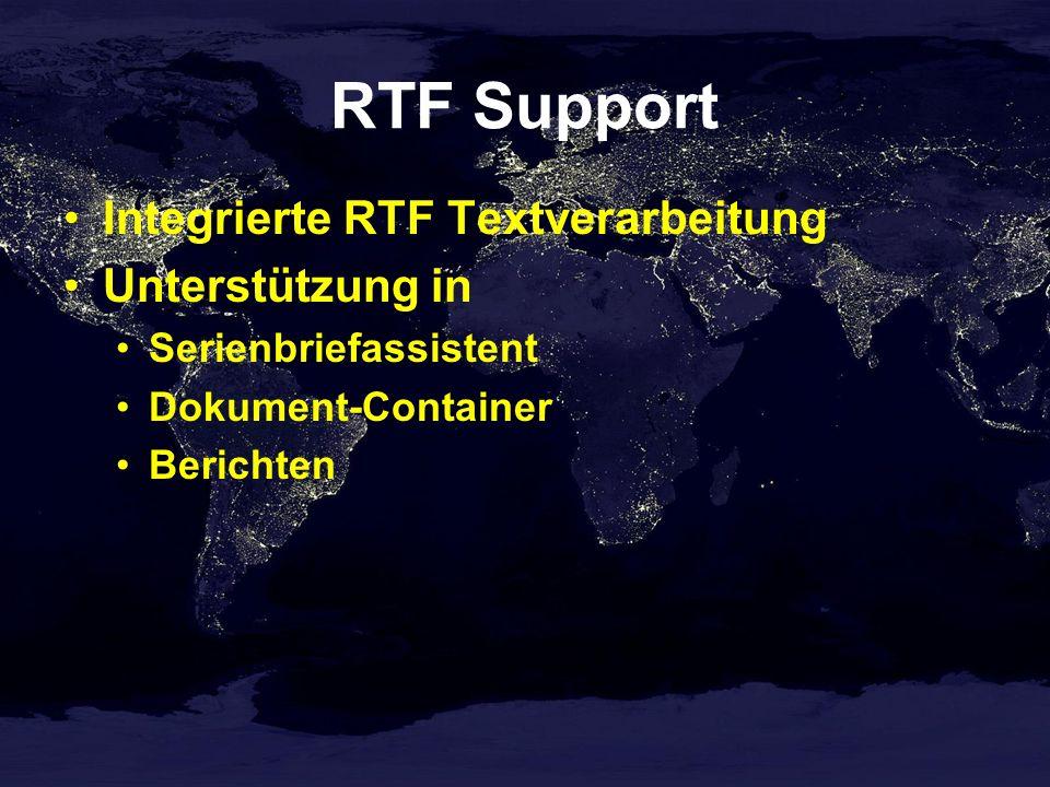 RTF Support Integrierte RTF Textverarbeitung Unterstützung in