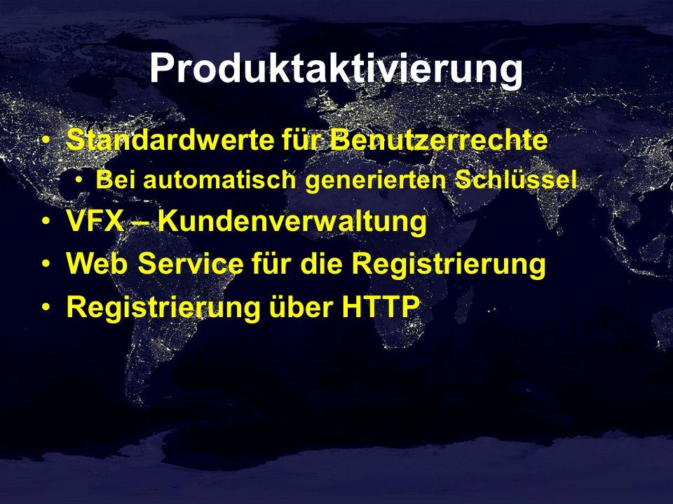Produktaktivierung Standardwerte für Benutzerrechte