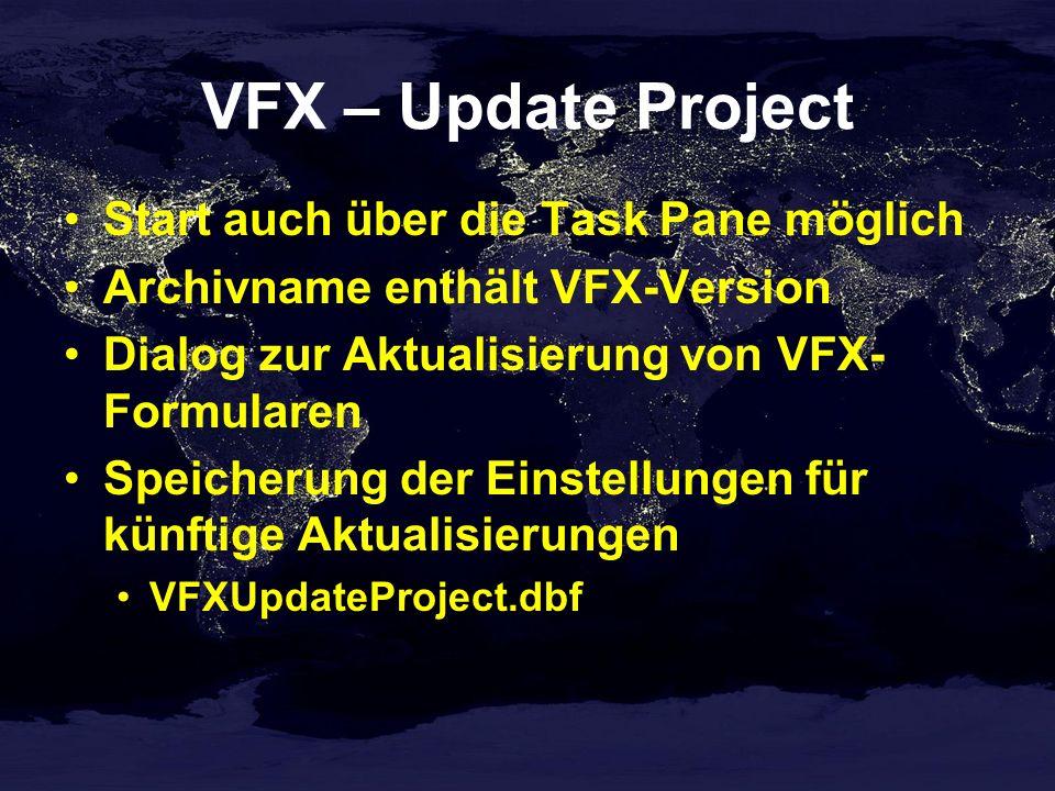 VFX – Update Project Start auch über die Task Pane möglich