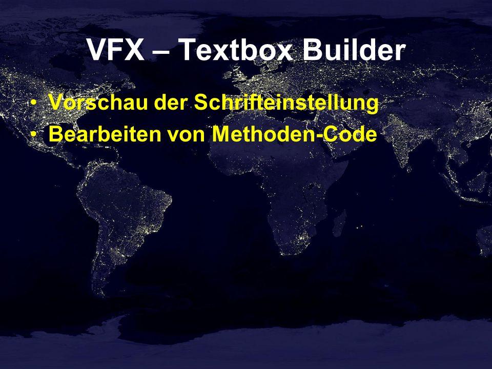 VFX – Textbox Builder Vorschau der Schrifteinstellung