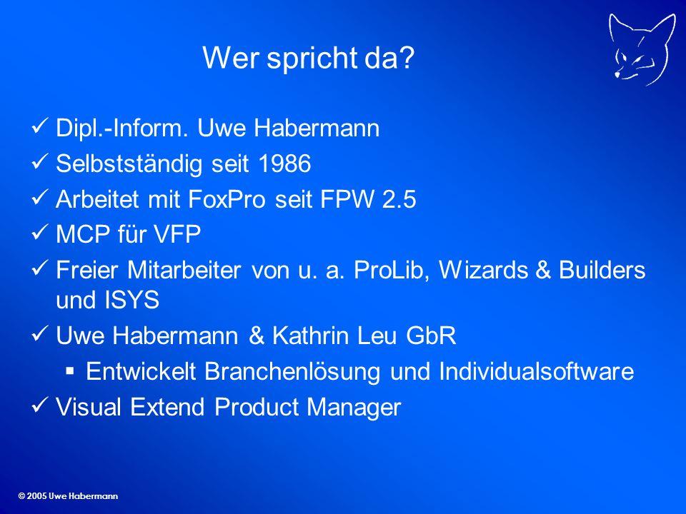 Wer spricht da Dipl.-Inform. Uwe Habermann Selbstständig seit 1986