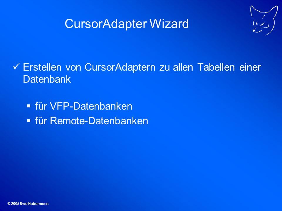 CursorAdapter Wizard Erstellen von CursorAdaptern zu allen Tabellen einer Datenbank. für VFP-Datenbanken.